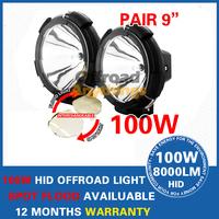 "2 Pcs 9"" 4x4 Offroad 100W Hid Xenon Driving Light, 8000 Lumens 100w Xenon Driving Car Light Truck Tractor SUV Light"