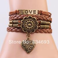 Handmade bronze heart flower bracelet,brown braid leather bracelet for couple