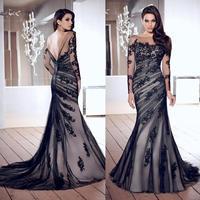 2015 Ultimate Elegant Mermaid Vestido De Noche Appliques Long Sleeve Low Back Black Tulle Long Formal Evening Dresses ZY018