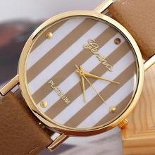 Hot Sale Free Shipping Rice Brown Popular Geneva Stripes Stripes Watch PU Leatheroid Women Analog Quartz Wrist Watches(China (Mainland))