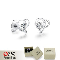 OPK JEWELRY Fashion Korean Version of Sterling Silver Plated Stud Earring Big Crystal Inlaid Elegant bijoux for women, 692