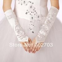 Wedding party 1sets/lot fashion Embroidery white satin with Diamon bridal Gloves