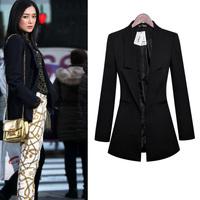 Free Shipping! Women Medium-long Plus size Slim Suit Jacket Blazer ,Female 2014 Spring and Autumn Fashion Slim Coat S-XXXL