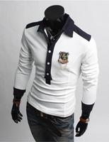 2014 Detachable Badge Turn-down Men's T Shirts Long Sleeve Patchwork Cuff Splicing Men Shirt Raglan Sleeve