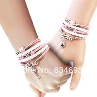Infinity, Love Charm Bracelet-Silver, Wax Cords and Leather Braided Bracelet -Personalized bracelet, Friendship gift