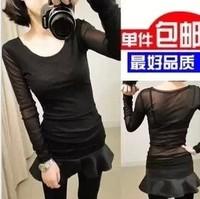 2013 basic shirt female women's slim t-shirt double layer gauze lace sexy female
