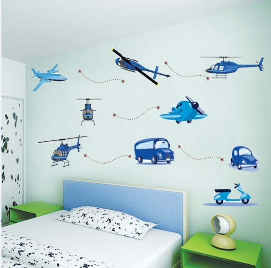 Free delivery boy favorite children's room bedroom wall stickers decorative entrance bed truck green aircraft
