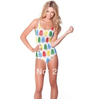 new 2014 European and American printing digital printing plus size swimwear sexy one piece bathing suit roupas fitness swimsuit