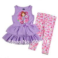 Wholesale 2014 New Girls Summer Suit, Baby girl 2pcs Sofia set with dress and pants, Children wear suit, 4sets/lot-WYX-9-7390