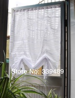 Fresh white stripe warp knitting lace curtain balancing anode-screening