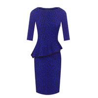 Beauty gentlewomen vintage print basic slim hip ruffle short-sleeve knitted short skirt one-piece dress female