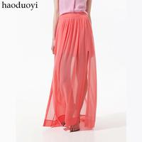 Fashion chiffon full dress elegant chiffon skirt bust skirt double placketing 2 6 haoduoyi