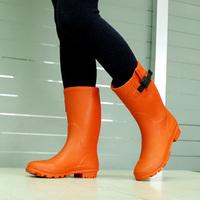 Professional rain boots 2014 spring and autumn fashion flat rubber knee-high rainboots rain boots female