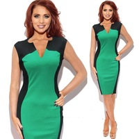 New 2014 Top Online Women Summer Brief Slim Sexy Casual Dress V-Neck Patchwork Knee Length Bodycon Party Pencil Dress S-M-L-XL