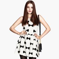 Black bow print rib knitting knitted short design sleeveless one-piece dress skirt 6 haoduoyi