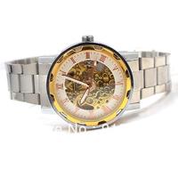 Skeleton watches for men full steel watch Mechanical Watch Auto Hand Wind analog round wristwatches