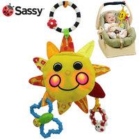 Sassy  plush baby plush lighting toy crib/stroller hanging toys with safe mirror  - yellow sunflower