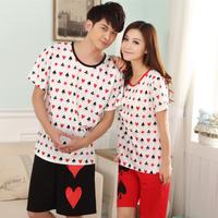 2014 lovers sleepwear summer short-sleeve shorts male fashion women's sleep 100% cotton lounge set