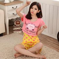 2014 spring and summer solid color milk silk piece set cartoon hippo1 sleepwear female set elegant