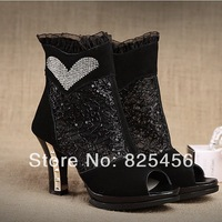 hot-sell 2014 spring and summer fashion lace gauze diamond-studded high-heeled shoes open toe cowhide sandals cool boots