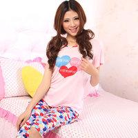 Women's love short-sleeve taohuajiangriver modal sleepwear 2 piece set cartoon 100% cotton lounge