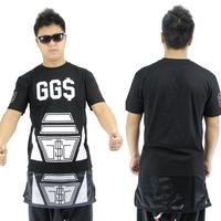 black cool GGS print long shirt style hip hop streetwear  men brand t -shirt  mens for MAN