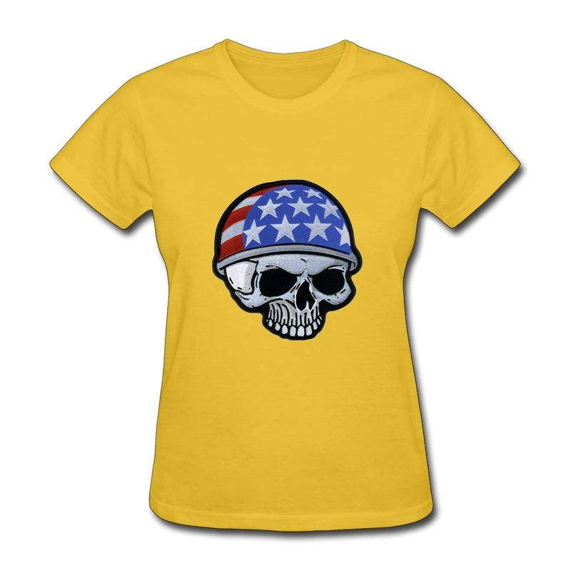Casual Tee Woman American Flag Skull Icon Vintage Pics Tee Shirts for Girl(China (Mainland))