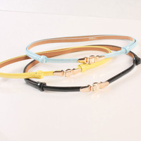 Blue patent leather fashion strap decoration belly chain female black japanned leather all-match h124 thin belt