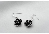 B194 black metal flower earrings south Korean style fashion jewellery wholesale free shipping