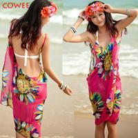 Hot! 2014 Women's Sexy Deep-V Neck Bikini Cover Up Dress Sarong Swimwear Beach Wear Wholesale+free shipping