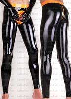Latex Black Men's Long Pants Front Zipped Legging Fetish Rubber Pants Customize