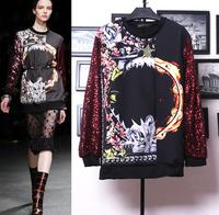 Sales 2014 Spring new arrival vintage print  sleeve paillette sweatshirt