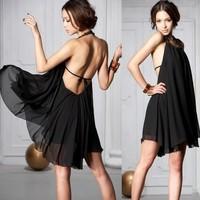 2014 New Arrival Sundresses Women's Plus size Black Chiffon Backless Halter Neck Summer beach wear dress Sexy diamond dresses