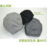Octagonal cap newsboy cap painter cap male women's general winter fashion vintage woolen warm hat