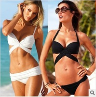 2014 hot summer bikini sets  halter padded beachwear  pure triangle multi-color gather bikini with rims push up bikini  3005