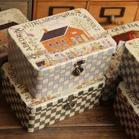 Organizer  Lockable vintage portable tin box with key desktop storage lock storage box