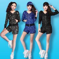 Hip hop dance costumes paillette with a hood Outerwear set Dance dress
