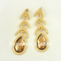 Free Shipping (5 Pairs/ Lot) Personality Fishbone Water Drop Crystal Earrings
