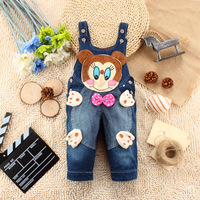 Hot! NEW Bowknot pattern Jeans Overall can open files pants Baby Coveralls Rompers For 1-3 Years old Baby