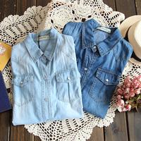 5790 2014 Spring Casual Pocket Brief Denim Shirt Long Sleeve Shirt Denim Blouse Women's Turn-down Collar Shirt
