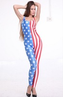 Quality New Womens's USA Flag Print One Piece Jumpsuit Onesie Sleeveless Cloth 4th July Stripe Star