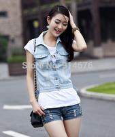 2014 women's Spring short denim jacket vest Women sleeveless lace patchwork vest Tops Beads Vests ,Free shipping
