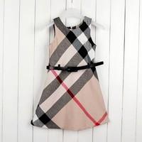 Summer Girls Plaid Dress Brand Children Clothing for Girls New 2014 Teenager Girls Dresses England Design Beige Kids Clothes