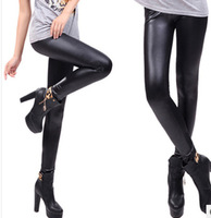 New 2014 Free shipping Spring Korean the candy color elastic waist Slim classic fashion high elastic flat leather pants Leggings