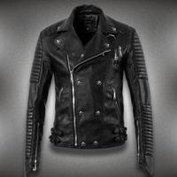 Fashion Trend Motorcycle Leather Men,Oblique Zipper Men,Leather Jacket,Skeleton Men Leather Jacket Size M-XXXL