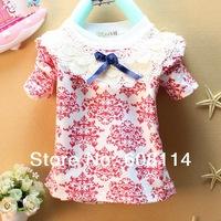 Retail New 2014 Spring Children's Clothing O-neck Girls' Top Child T-shirt For Girl Flower Fashion Kids' Undershirt