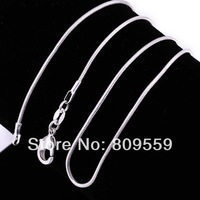 "100pcs 925 Silver Plated Solid 1mm Snake Chain Necklace 24"" for men&women"