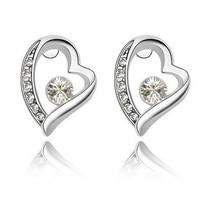 Hot Sale! Romantic Jewelry for Women Heart-shaped Sut Earrings Crystal Earrings Multi-color Zircon Earings ML-168