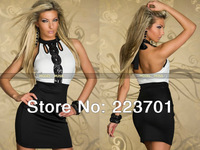 M L Plus Size 2014 New Fashion Women Sleeveless Sequined Party Novelty Dress Open Back Cocktail Dresses