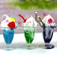 creative gift Artificial ice cream hangings artificial food ice cream cup keychain bags pendant novelty